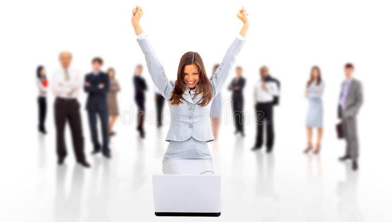 Business woman with her hands raised stock image