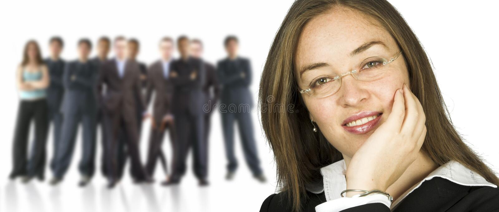 Business woman and her huge team