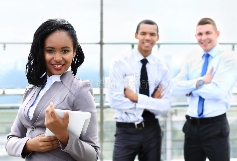 Business woman with her staff, royalty free stock photo