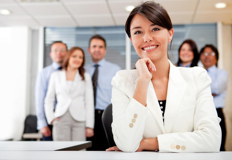Download Business Woman With Her Team Stock Image - Image: 21869217