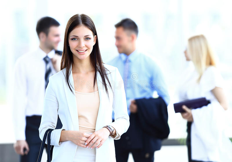 Download Business Woman With Her Team Stock Image - Image: 32948433