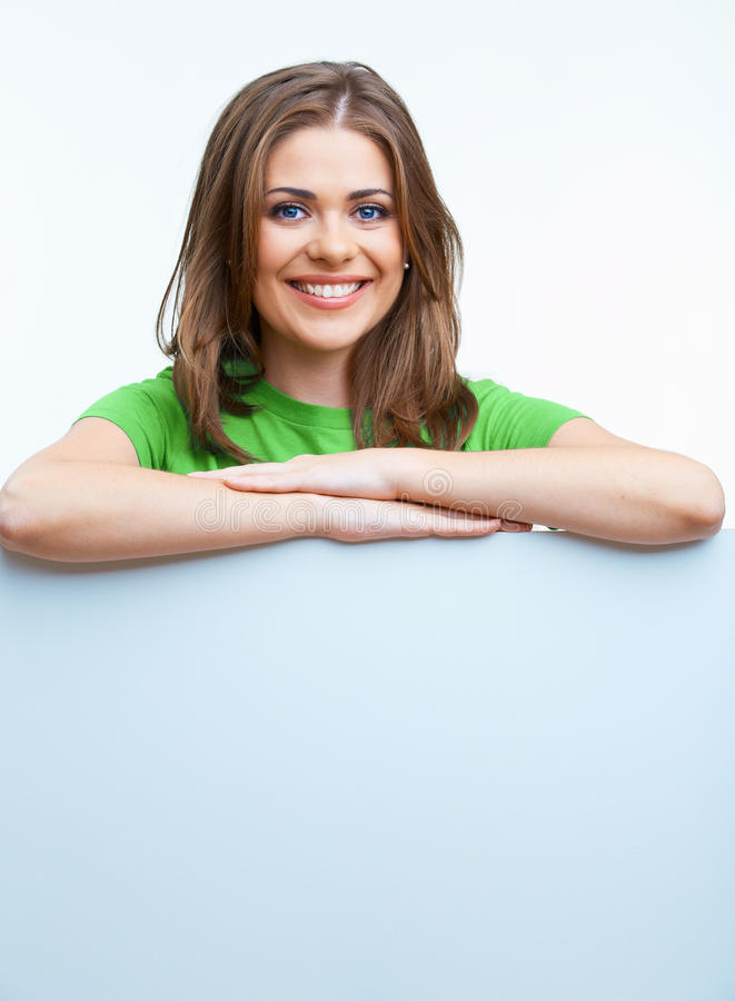 Business woman hold blanc card. royalty free stock image