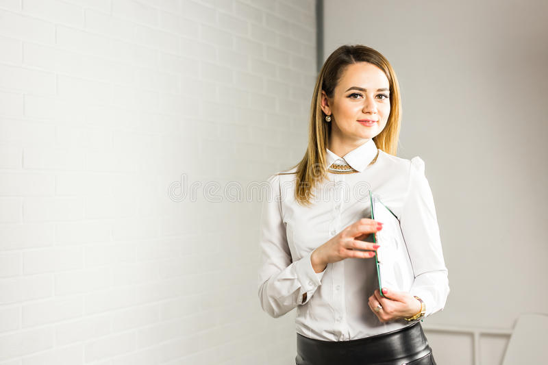 Business woman hold a folder stock photos
