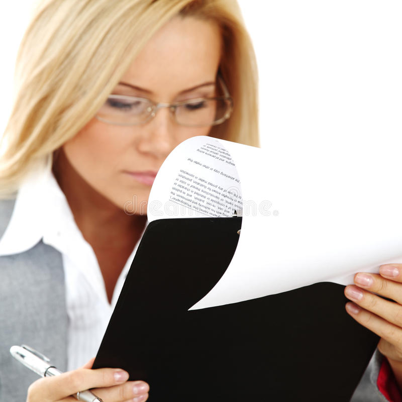 Business woman hold a folder and write royalty free stock photo