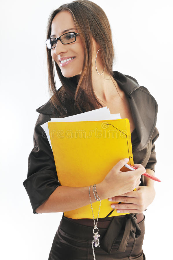Download Business Woman Hold Papers And Folder Stock Photo - Image: 11390332
