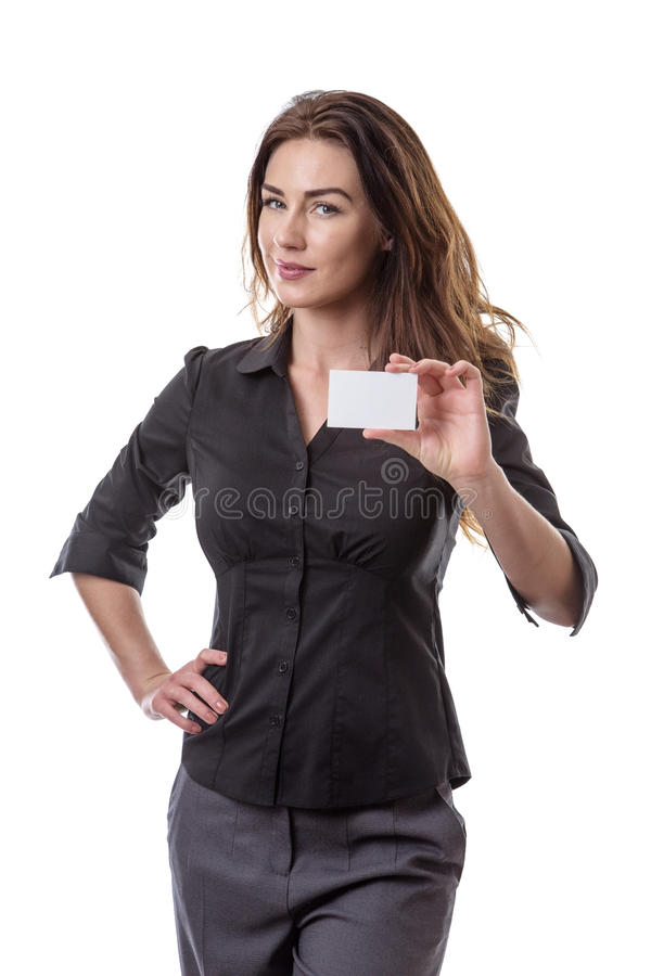 Business Woman hold white blank board. Close up upper body shot of a woman in a business suit holding a blank card isolated on white royalty free stock photos