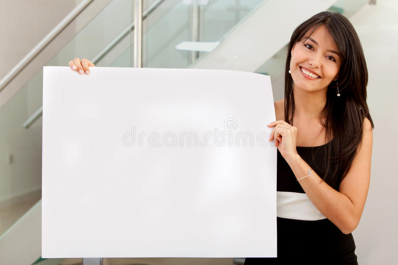 Business woman holding ad