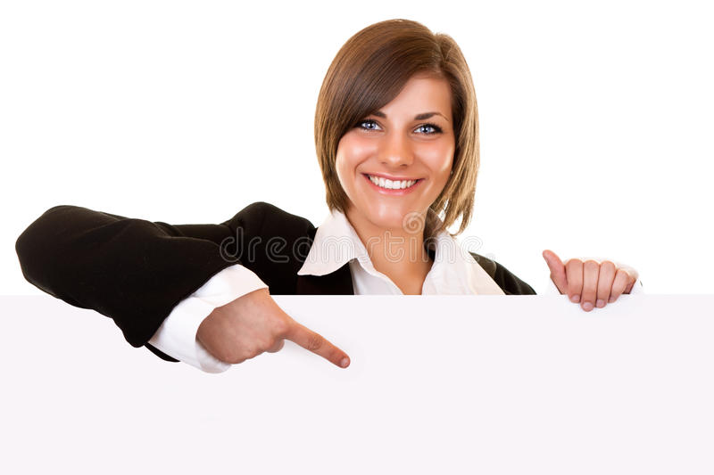Download Business Woman Holding Big Blank Paper Stock Photo - Image: 14884616