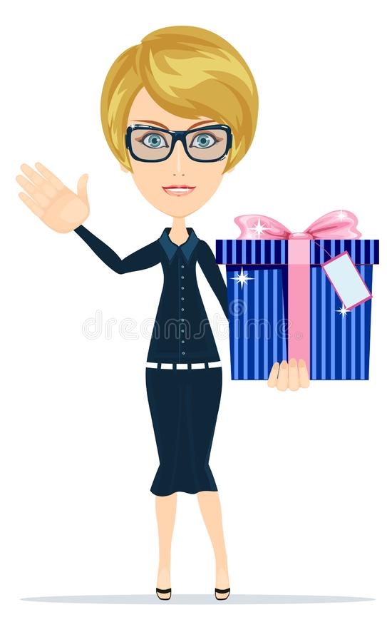 Business woman holding a big gift box for Christmas. Vector illustration. stock illustration