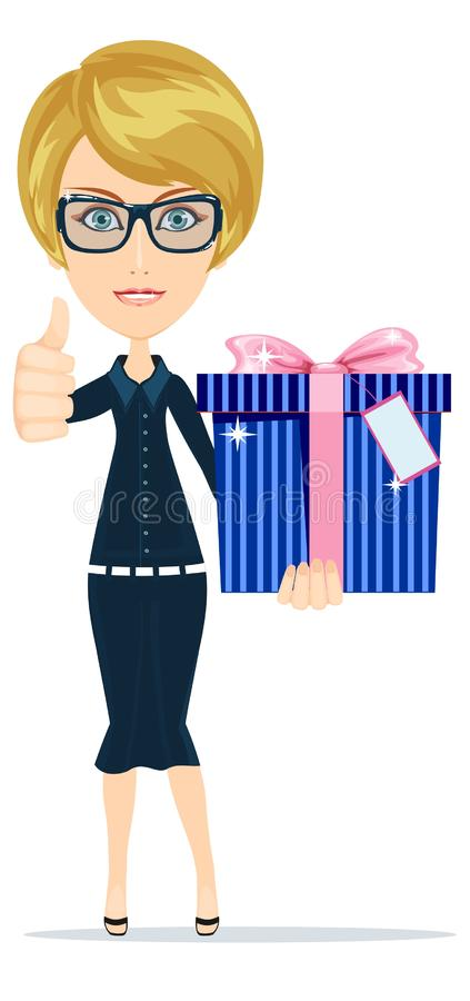 Business woman holding a big gift box for Christmas. Vector illustration. royalty free illustration