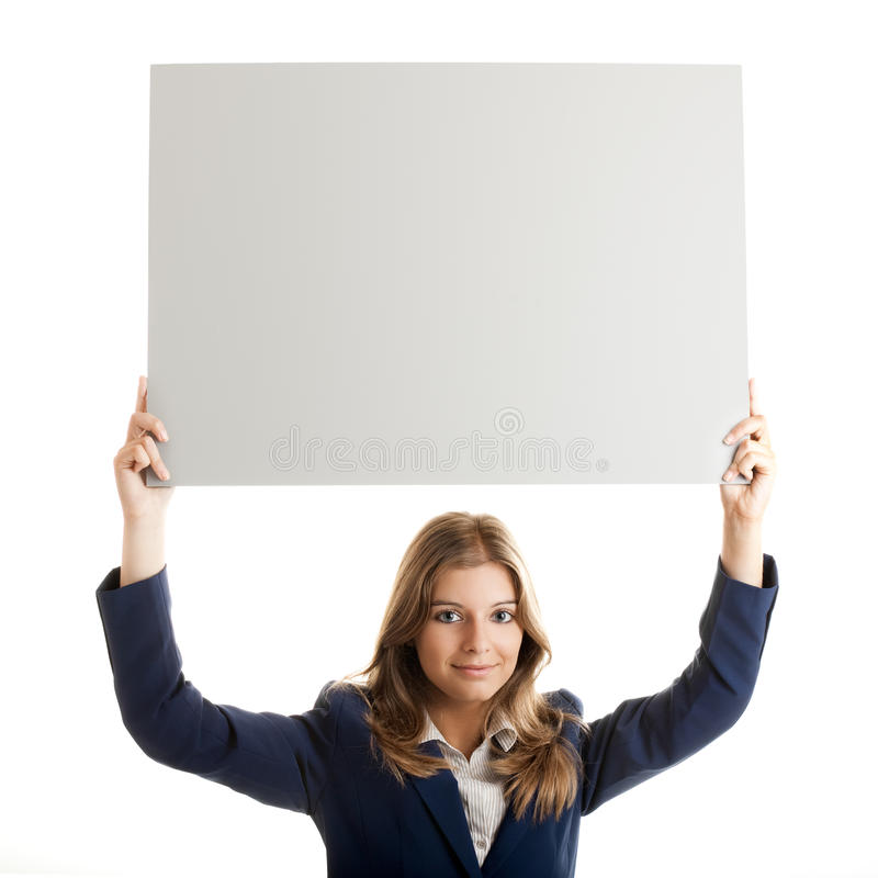 Download Business Woman Holding A Billboard Stock Image - Image of girl, isolated: 10579563