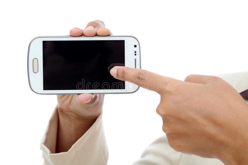 Business woman holding with black display of mobile phone. Business woman hand holding with black display of mobile phone against white stock photography