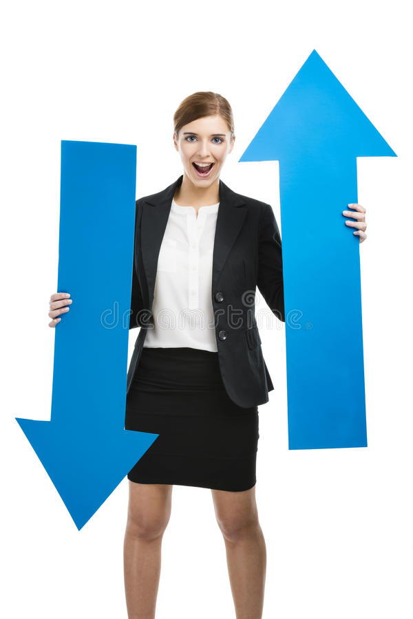 Business woman holding blue arrows stock photos