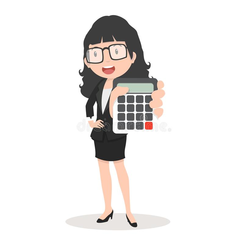 Business woman holding calculator Counting Concept stock illustration
