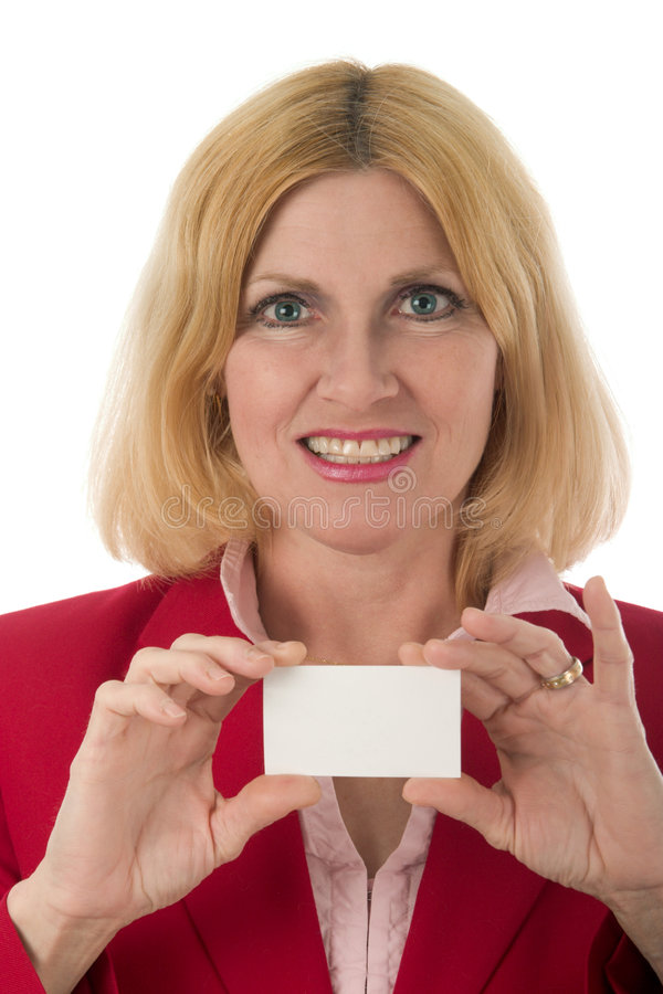 Business Woman Holding Card stock photography