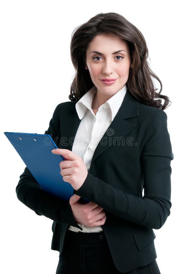 Business woman holding clipboard stock photography