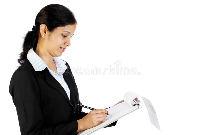 Business woman holding clipboard royalty free stock images