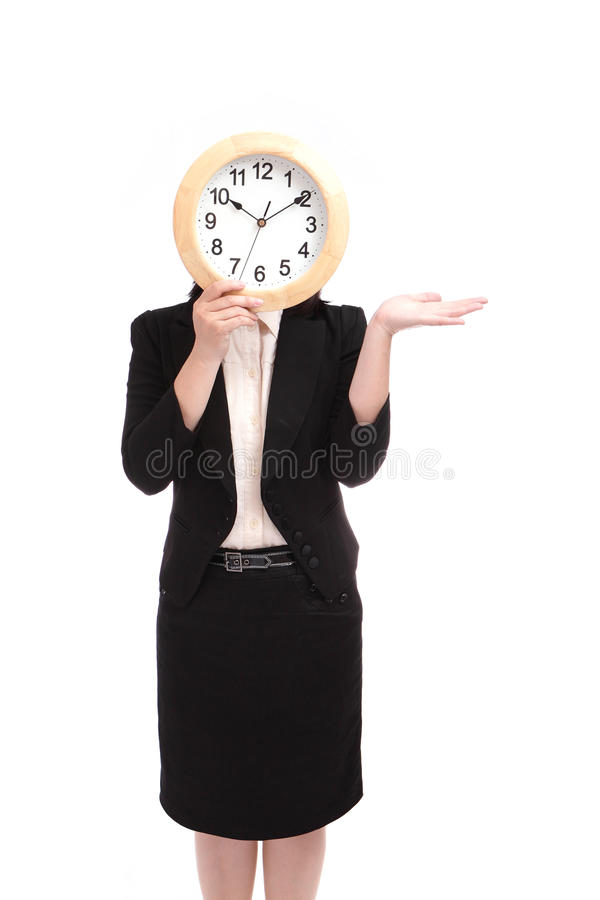 Download Business Woman Holding Clock Stock Photo - Image: 21664264