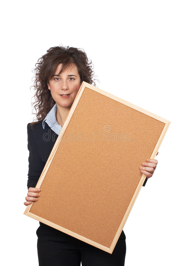 Business woman holding the corkboard stock photo