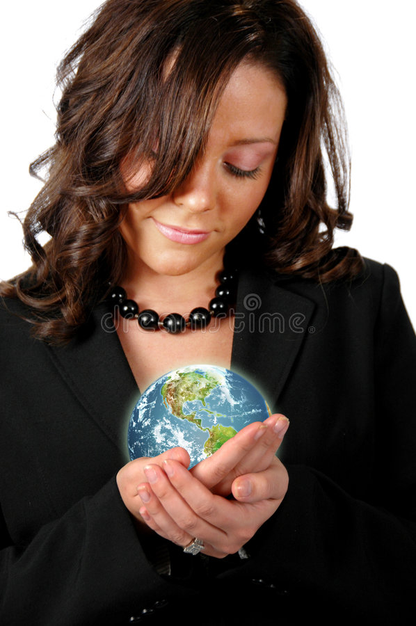 Business woman holding the ear stock photos