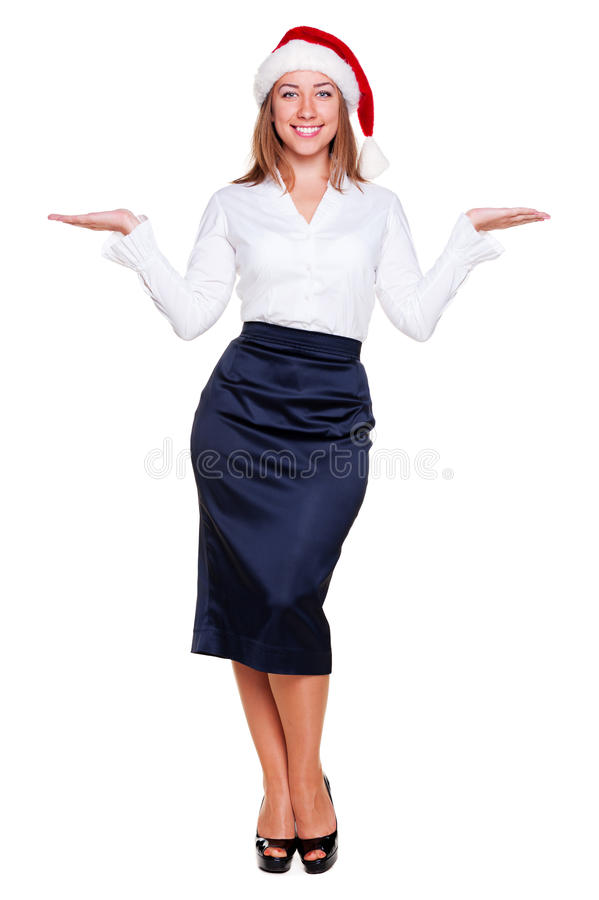 Download Business Woman Holding Empty Copyspace Stock Photo - Image: 25697184