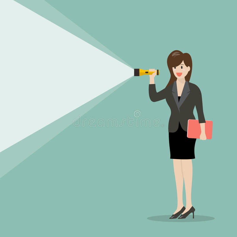 Business woman holding flashlight. Vector illustration stock illustration