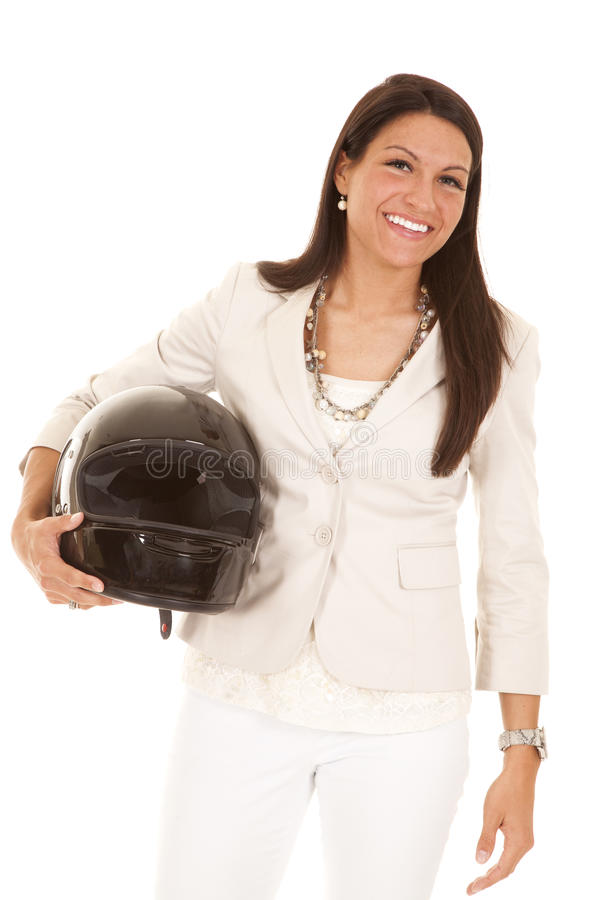 Business woman holding helmet. royalty free stock photos
