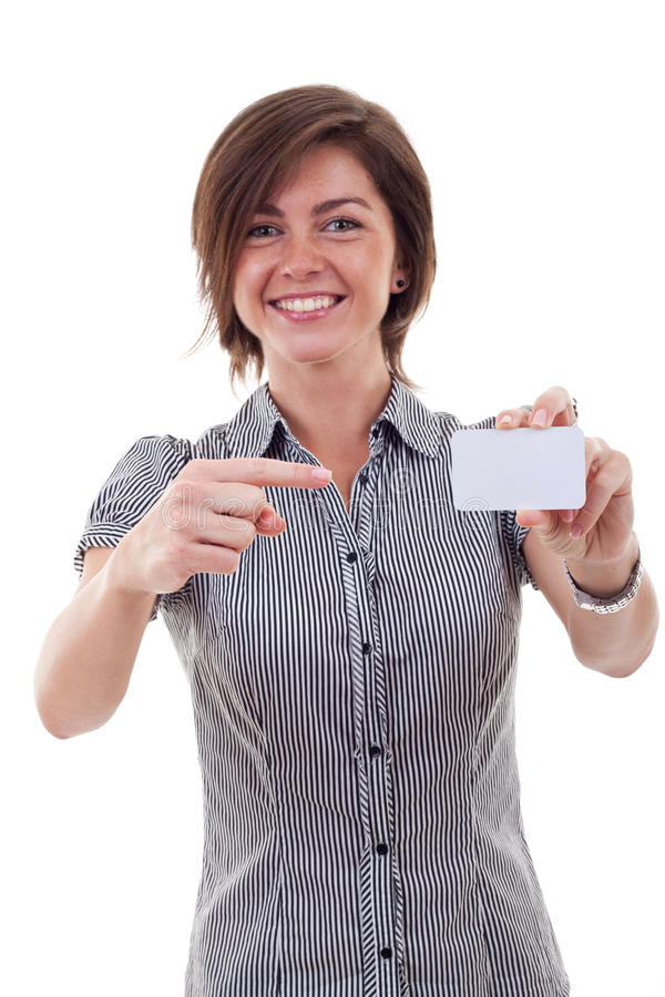 Business woman holding her visiting card royalty free stock photography