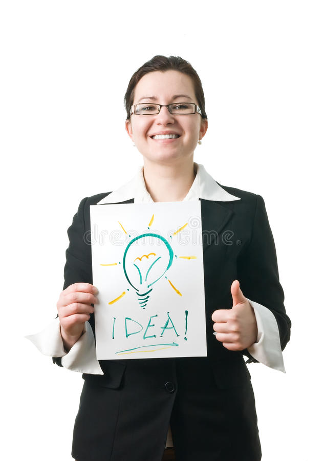 Business woman holding idea lightbulb stock image