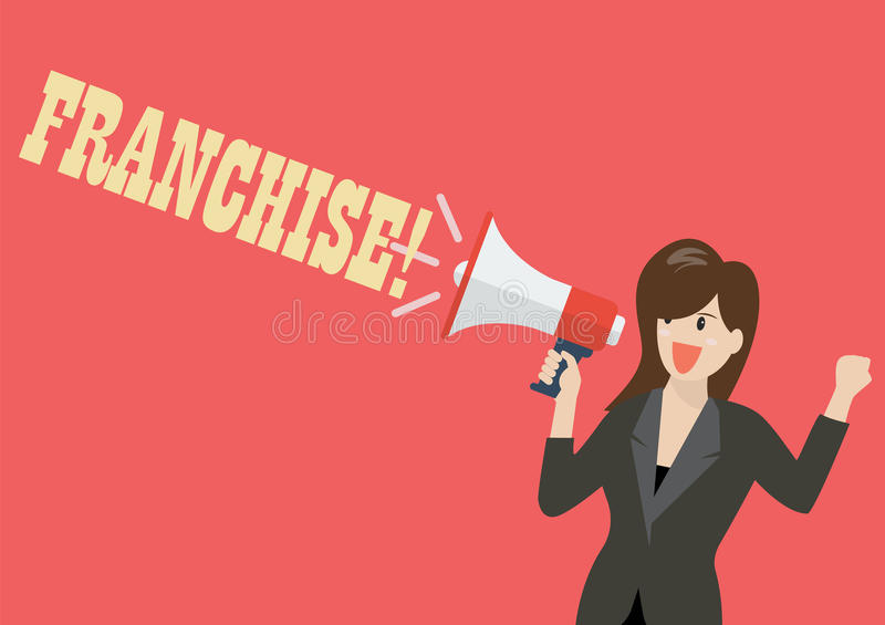 Business woman holding a megaphone with word franchise royalty free illustration