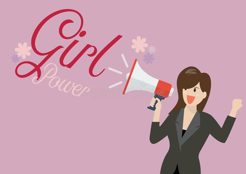 Business woman holding a megaphone with word girl power royalty free illustration