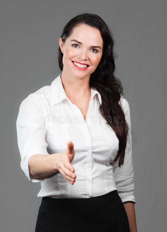 Download Business Woman Holding Out Hand Stock Photo - Image: 24098280