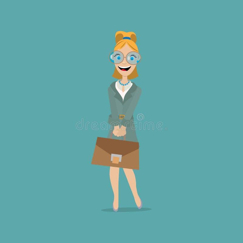 Business woman holding a portfolio stock illustration
