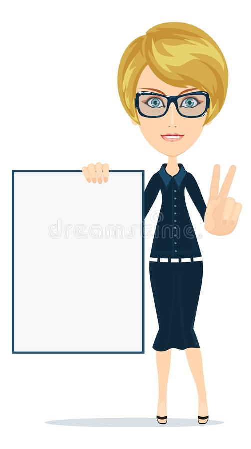 Business woman holding a poster, vector royalty free illustration