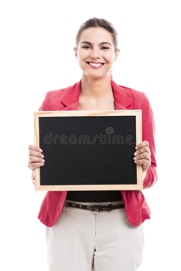 Business woman holding a shalk board royalty free stock photography