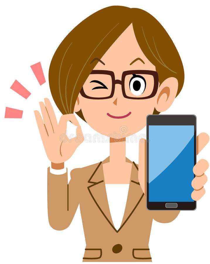 Business woman holding a smartphone and putting out an OK sign. The image of a Business woman holding a smartphone and putting out an OK sign vector illustration