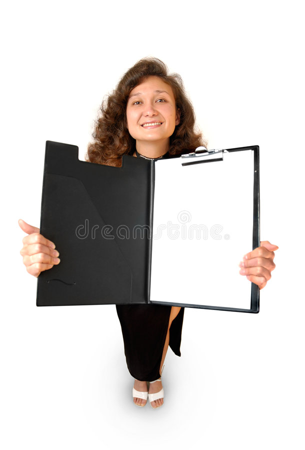Business woman holding a tablet isolated. Beautiful smiling businesswoman holding opened file folder showing business report isolated on white stock photo