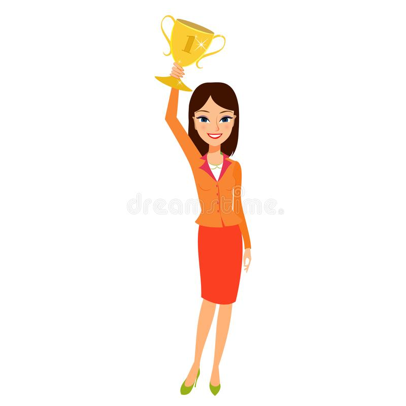 Business woman holding up a trophy cup and smiling. Women leadership concept royalty free illustration