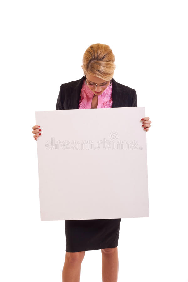 Business woman holding white board royalty free stock image