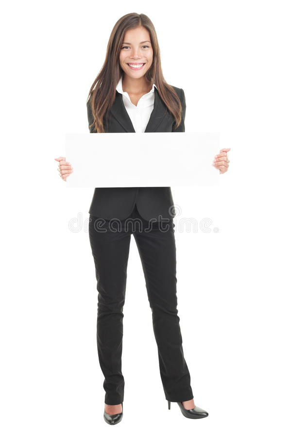 Business woman holding white sign / poster stock image