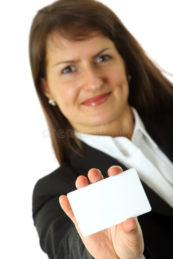 Download Business Woman Holds A Business Card In A Hand Stock Image - Image: 8516601