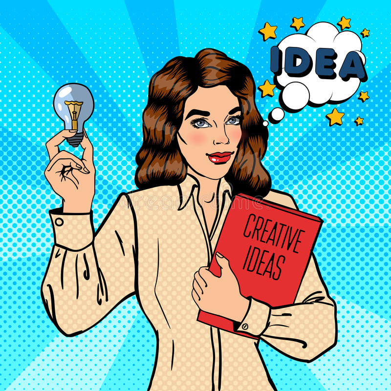 Business Woman Holds a Light Bulb. Creative Idea Business. Pop Art. Vector illustration royalty free illustration