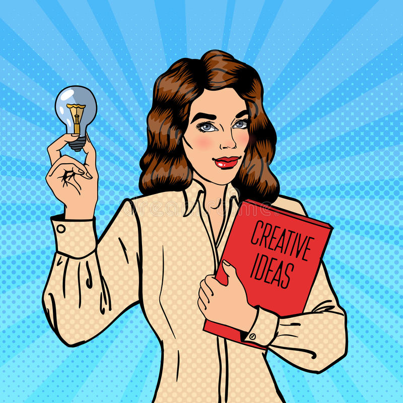 Business Woman Holds a Light Bulb. Creative Idea Business. Pop Art. Vector illustration stock illustration