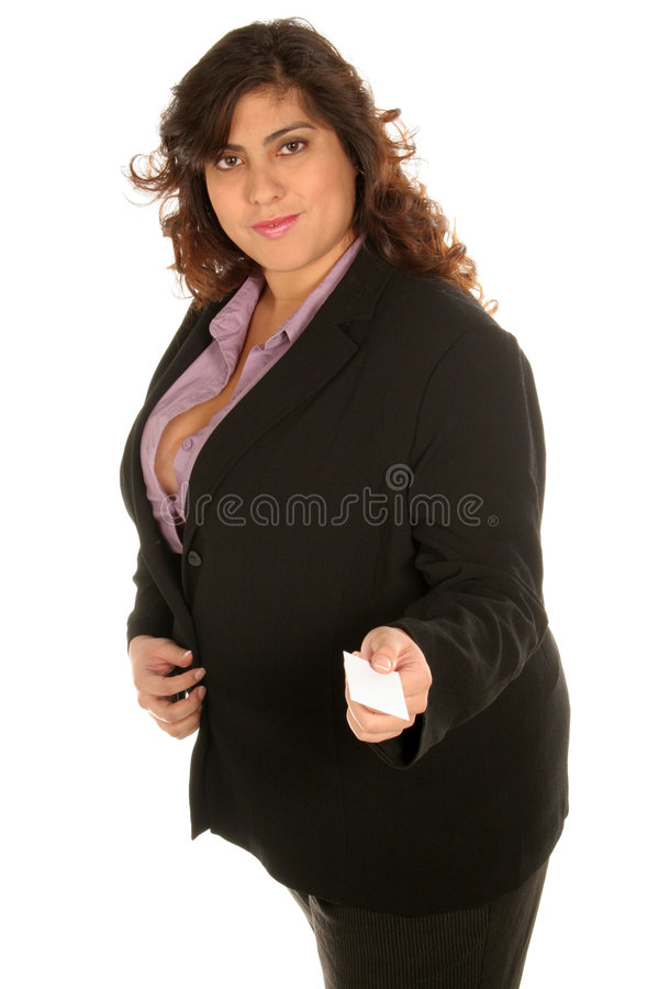 Download Business Woman Holds Out Her Card Stock Photo - Image: 368300