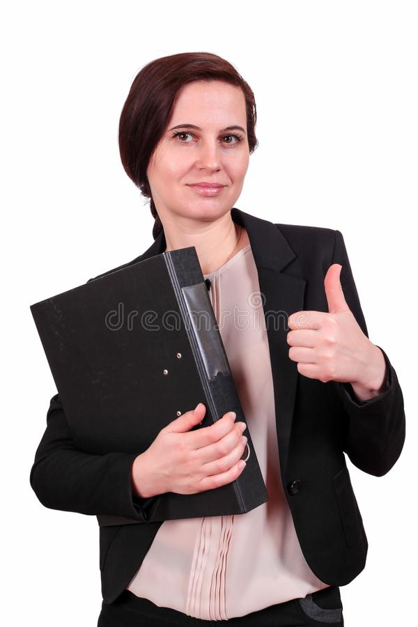 The business woman holds a thumb up stock images