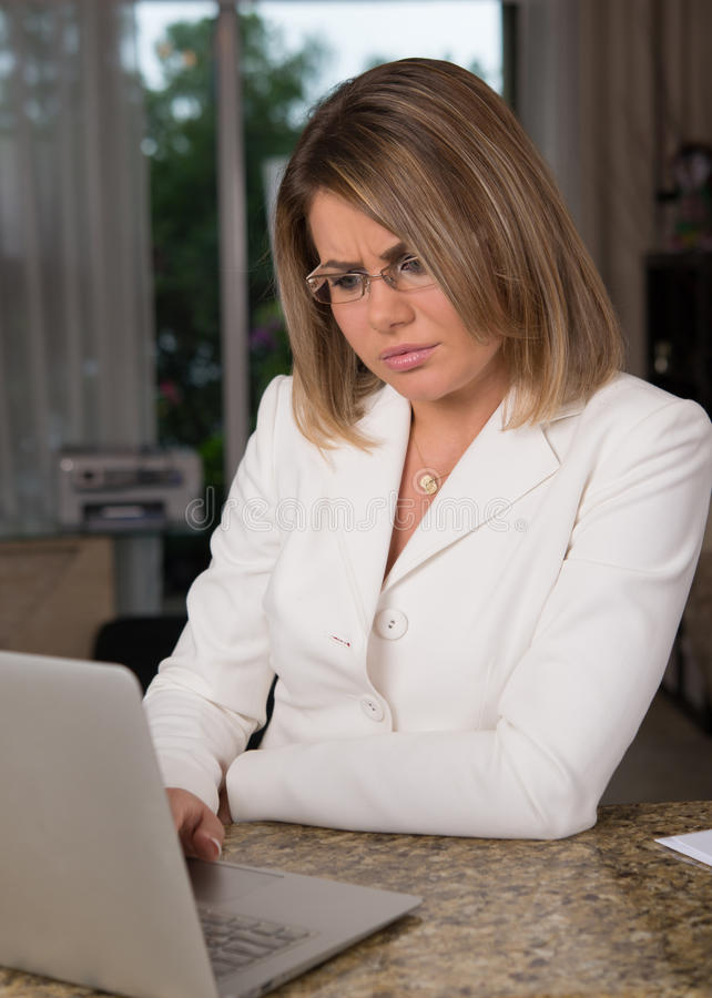 Business woman at home. Business woman in home environment stock photos