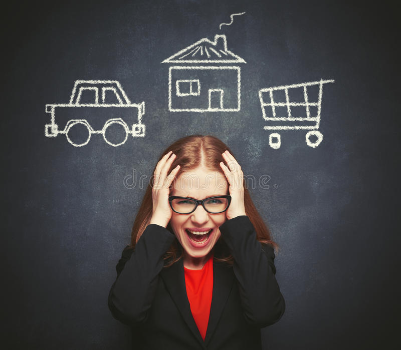 Business woman housewife in stress from many businesses, work, h. Ome, shopping royalty free stock photos