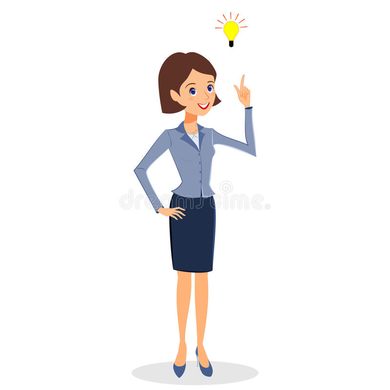 Business woman idea, creative thinking concept character vector. Business woman character vector. Cheerful smiling business woman character with light bulb royalty free illustration