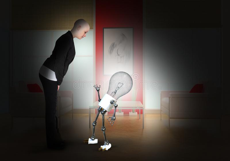 Business Woman, Idea, Ideas, Goals, Success. A bald business woman in an abstract concept with a light bulb man. The businesswoman is a metaphor for an idea
