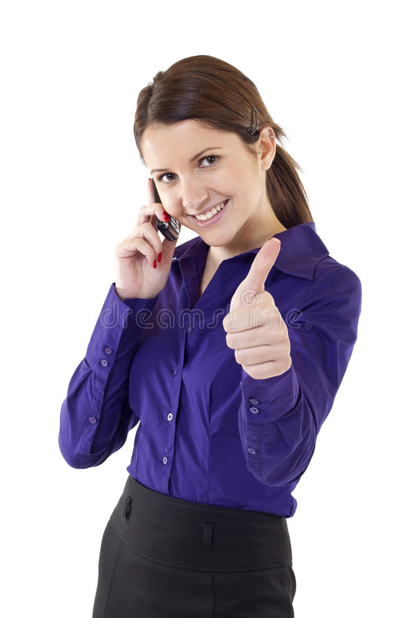 Business woman indicating ok sign stock photo